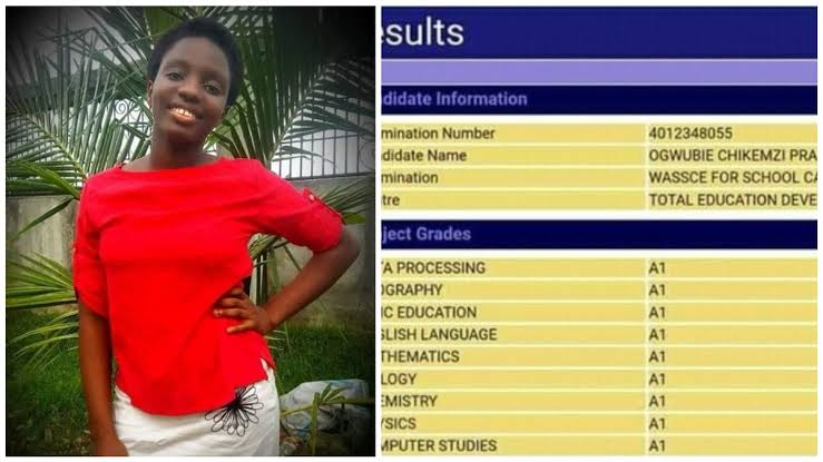 WAEC 2020: Nigerian girl makes distinctions in all her papers. See her subject combinations (Photos)