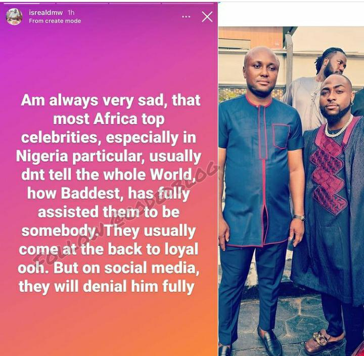 Davido's personal logistics manager reveals that most top celebrities are hypocritical