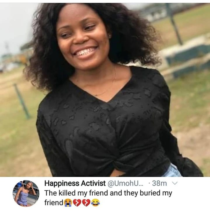 Iniobong's friend cries out on twitter